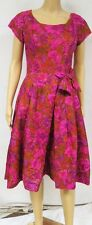 Vintage 50s Dress Floral Fit Flare Rockabilly Pin Up Bow Cocktail Wedding