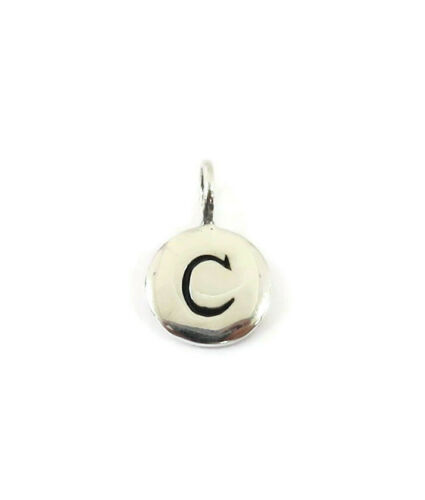 Sterling Argent 0.925 Initiale Lettre C Tiny Round Disc collier pendentif charme