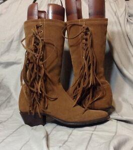 Durango Brown Suede Fringe Boots Size 6.5 Women's Heel Side ...