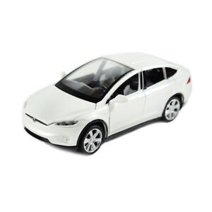 Tesla Model X 90D SUV 1:32 Metall Die Cast Modellauto Weiß Spielzeug Pull Back