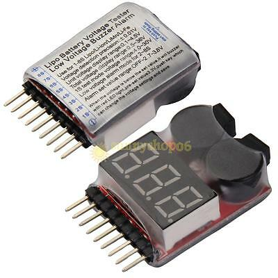 RC Lipo Battery Low Voltage Alarm 1S-8S Buzzer Indicator Checker Tester LED Hot