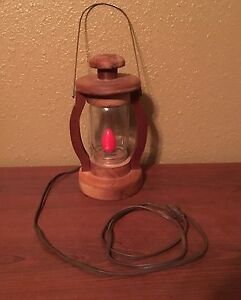 Vintage-Unique-Handmade-Wooden-Lantern-Look-Lamp-with-Hanger-and-Red-Bulb