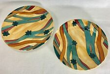 "Expensive Pieces 1982 Santa Fe Art Pottery 7½"" Plate Artist Signed Set of 2"