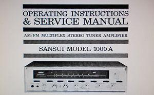 sansui 1000a st tuner amp operating instructions and service manual rh ebay co uk Sansui Tube Receiver Sansui 5000