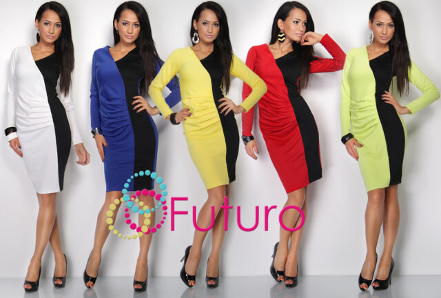 Stunning Optical Slimming V-Neck Dress Creases Long Sleeve Size 10-18 FK1200