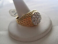 Vintage Men's Gold-plated Ring With Cz Stones, Size 13, Lots Of Sparkle