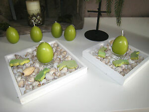 Dekoschale Holzschale Kerzen Holz Tablett Ostern Ostersdeko