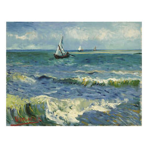 Image is loading Huge-Seascape-at-Saintes-Maries-Van-Gogh-Canvas-  sc 1 st  eBay & Huge Seascape at Saintes Maries Van Gogh Canvas Print Wall Art Home ...