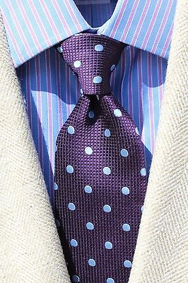 Brooks Brothers Gentleman's Violet Dotted All Silk Necktie - No Label