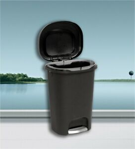 Details about Large Kitchen Trash Can 13 Gallon Garbage Can Black Plastic  With Lid Can Step