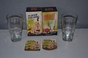 2x-Jim-Beam-Tumbler-Heavy-Mixers-Glasses-Tall-Hi-Ball-Bourbon-Whisky-Embossed