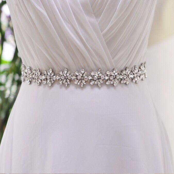 Bridal Wedding Bridesmaid Dress Sash Crystal Rhinestone Purple Ribbon Waist Belt