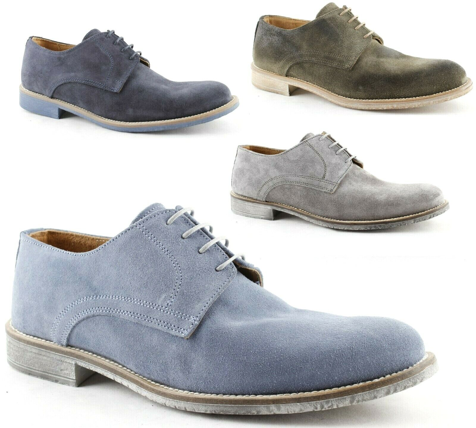 shoes Derby Leather Men Suede Mode Oxford smooth bluee jeans grey green 06