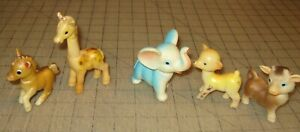 5 Vintage Soft Plastic SQUEAKY TOY ANIMALS - Made in Japan - Elephant, Giraffe +