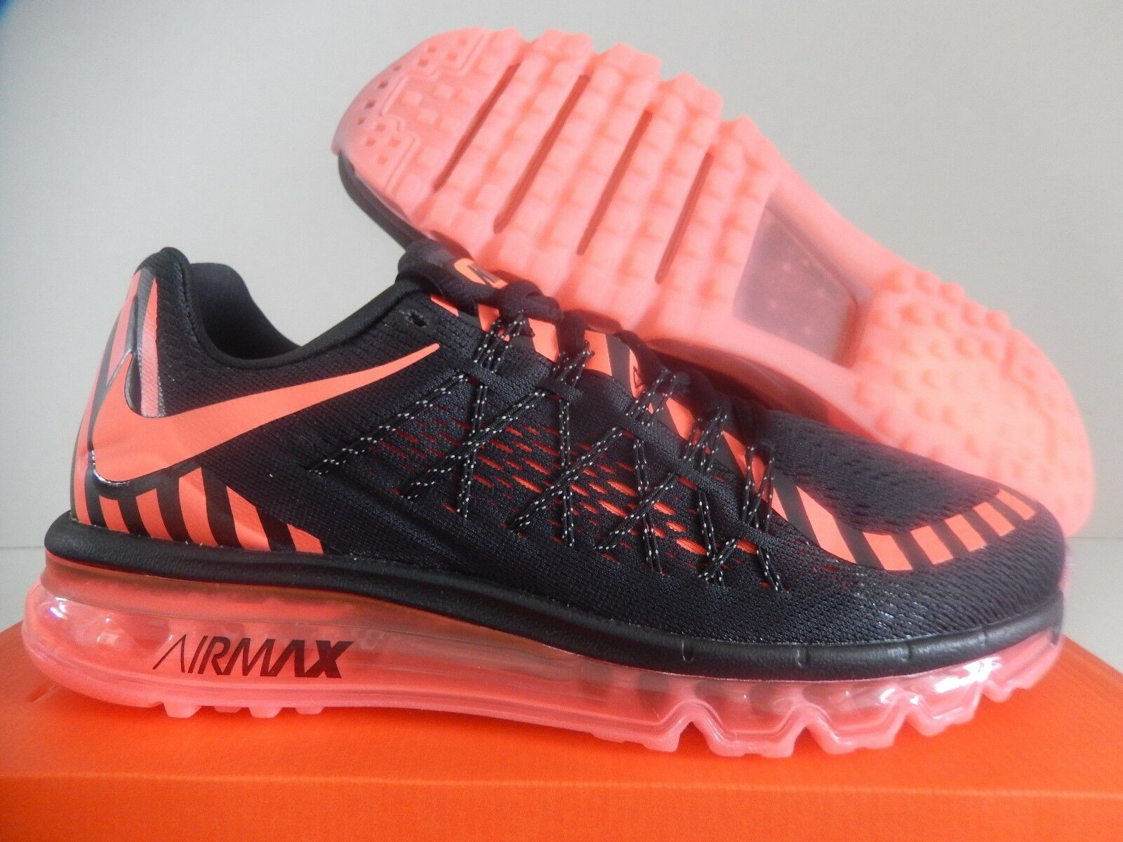 WMNS NIKE AIR MAX 2015 NR BLACK-HOT LAVA-DARK GREY GREY GREY SZ 10 6f7ae2