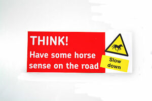 THINK-HORSE-Car-Or-Trailer-Decal-Bumper-Sticker-Equine-Road-Safety-03-01