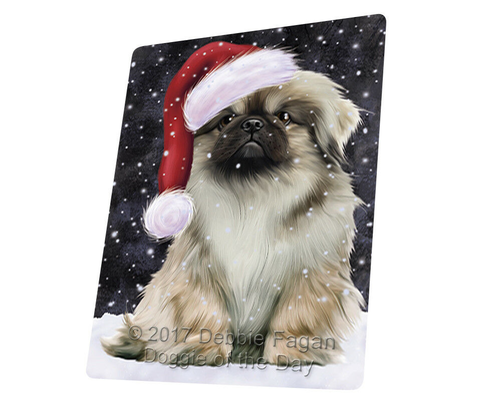 Let it Snow Christmas Holiday Pekingese Dog Woven Throw Sherpa Blanket T103