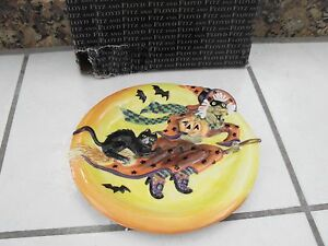 Fitz and floyd halloween witch hazel canape plate witch for Fitz and floyd canape plate