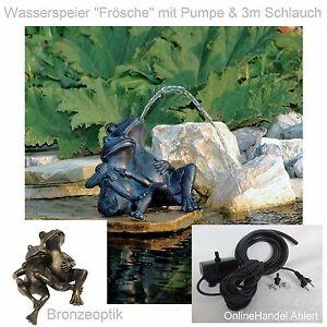 Teich-Pumpe-Wasserspeier-Frosch-Gartenteich-Springbrunnen-Garten-Figur-Froesche