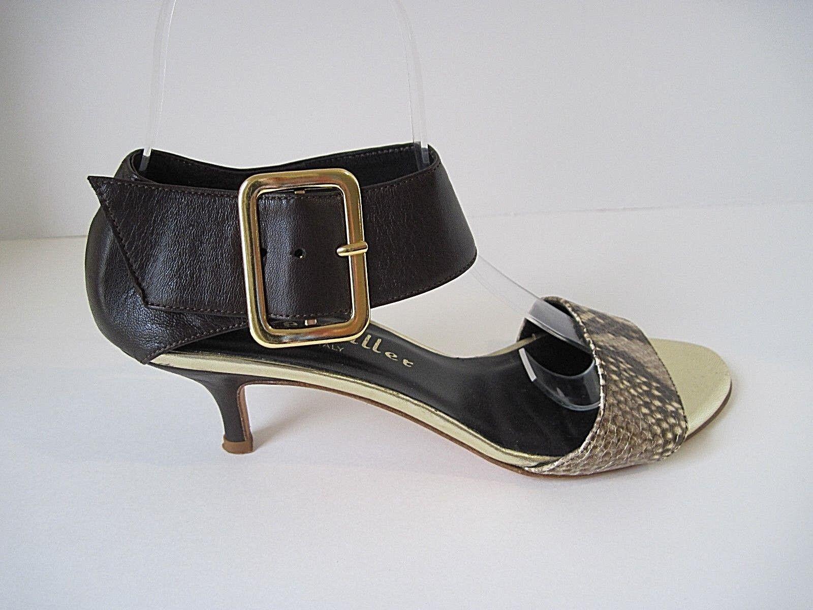 Spedizione gratuita al 100% Bettye Muller Bridget Marrone Leather Snakeskin Kitten Heel Sandal Dimensione Dimensione Dimensione 36 1 2  tempo libero