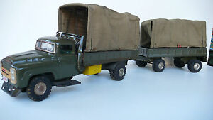 Camion Militaire Avec Remorque Tole Et Toile L 56 Cm Etat De Jeu Japon?