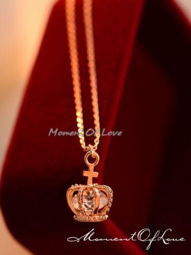 Super Sparkling 3D Royal *Crown* Pendant Rose Gold Silver GP Party Necklace