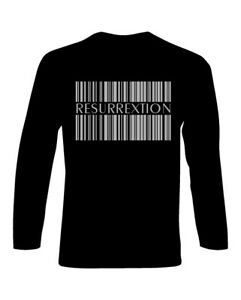 T-Shirt-manica-lunga-Hip-Hop-logo-Resurrextion-codice-a-barre