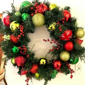 Large Christmas Ornaments.Details About 30 Large Christmas Wreath Large Lime Green Red Ball Ornaments Greenery Pine