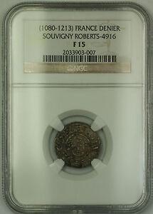 1080-1213-France-Souvigny-Silver-Denier-Coin-Roberts-4916-NGC-F-15-AKR