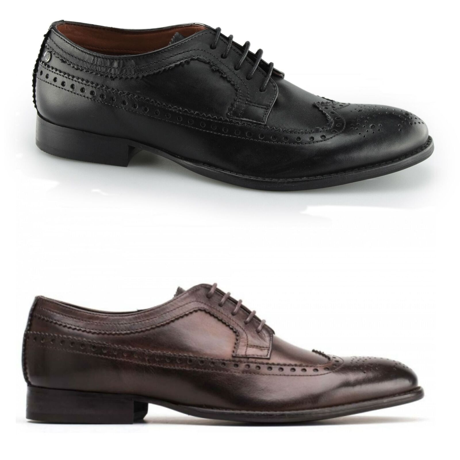 Base London BAILEY Mens Smart Brogue Wing Tip Leather Derby Lace Up schuhe