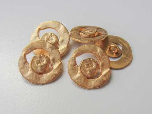 5 außergewöhnliche goldfarbene Metall Knöpfe mit Durchbruch 5481go