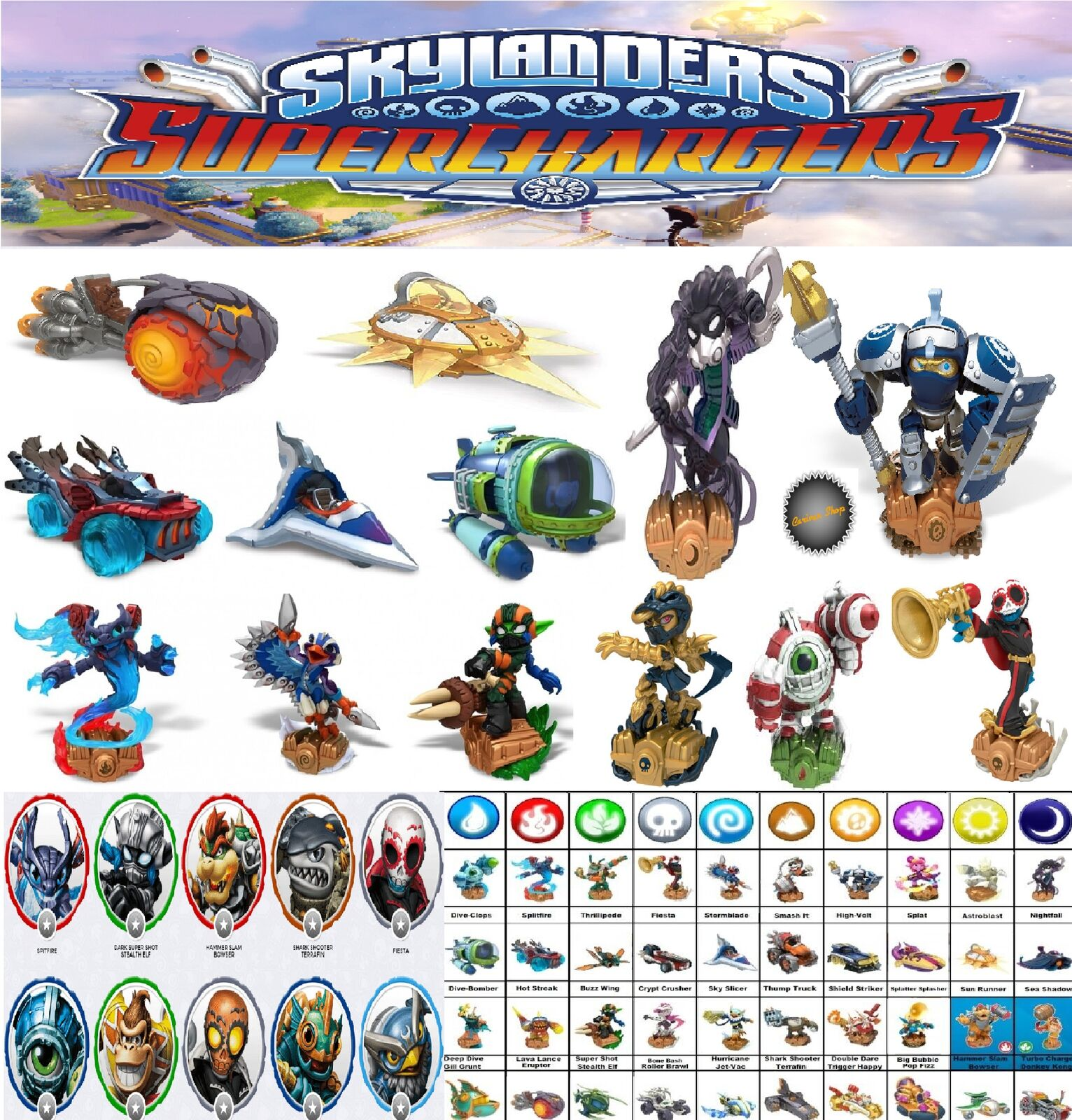 SKYLANDERS SUPERCHARGERS SUPER CHARGERS AU CHOIX CHOICE COLLECT THEM ALL