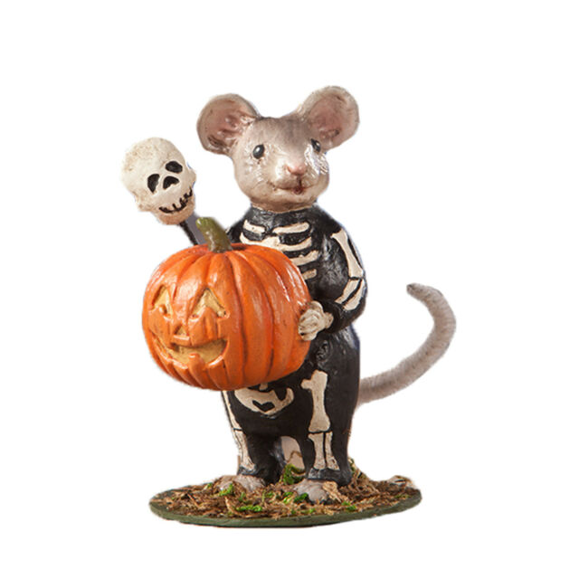 Bethany Lowe Skelly Mouse Pumpkin Jack O Lantern Halloween Figurine Cute Decor