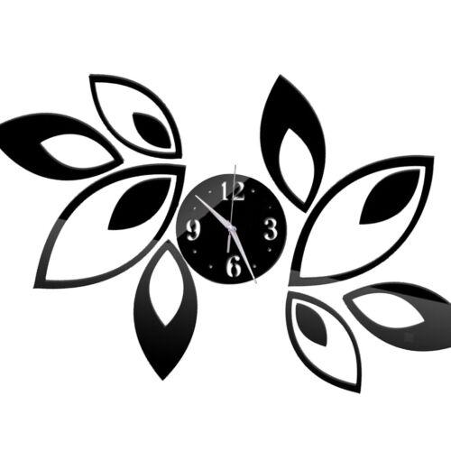 3D Wand Uhr Schwarz Lotus Wohnzimmer Wanduhr DIY Haus Deko Spiegel Wandtatto