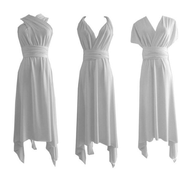 White Flirty Multi Way Wrap Convertible Infinity Bridesmaid Dress XS-3XL