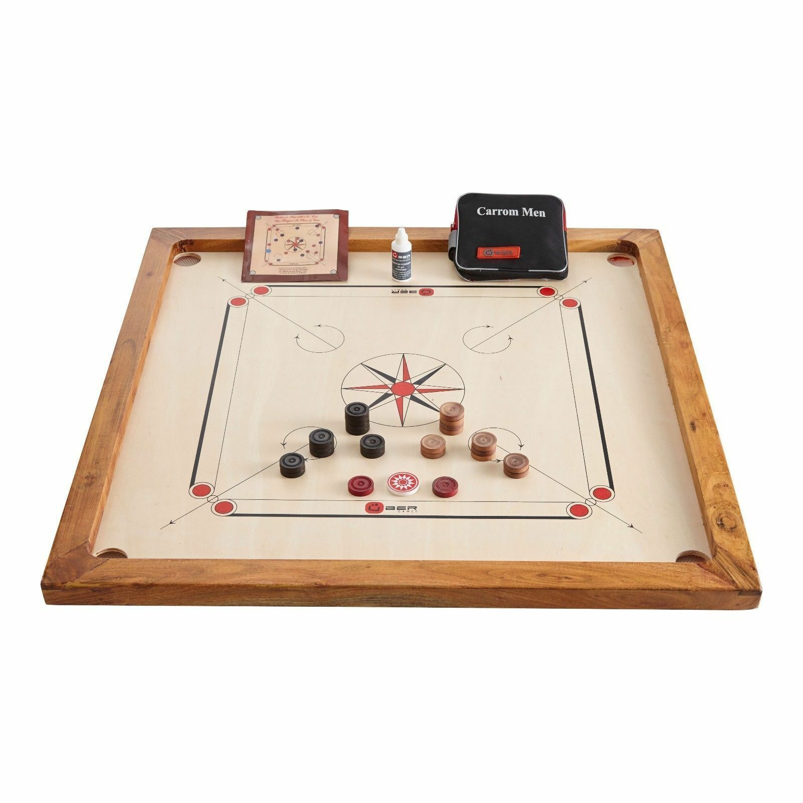 Carrom board-pièces, Striker, Poudre & 33 X 33  Rosewood Board in Carrom Set