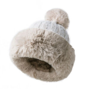 bd7b56a997e8d Image is loading Winter-Ladies-Russian-Fur-Knitted-Bobble-Faux-Beanie-