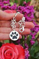 Sterling Silver Plt Charm BRACELET Round Black Paw Print Dog Cat Pet Lover Gift