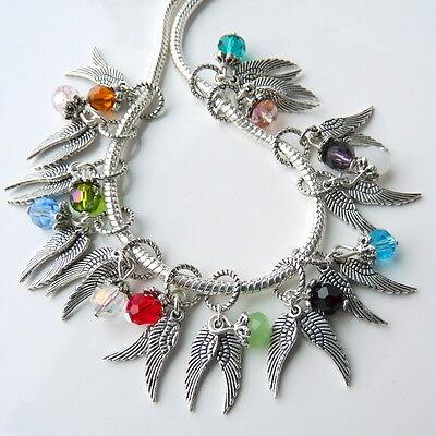 Guardian Angel Wings Charm Crystal Slider Fit European Bracelets PINK