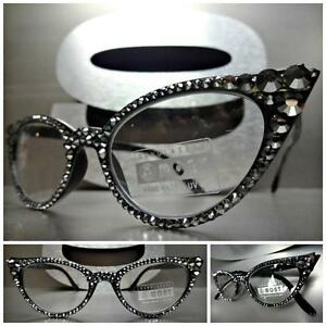 404fbabf97b6 Women s VINTAGE 60 s CAT EYE Style READING EYE GLASSES Crystal ...