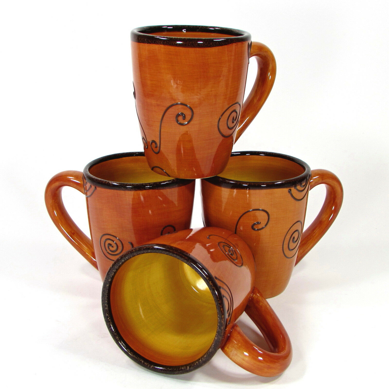Tabletops Unlimited AMBROSIA TANGERINE 14oz Mug Cup Set 4Pc orange Brown Swirl
