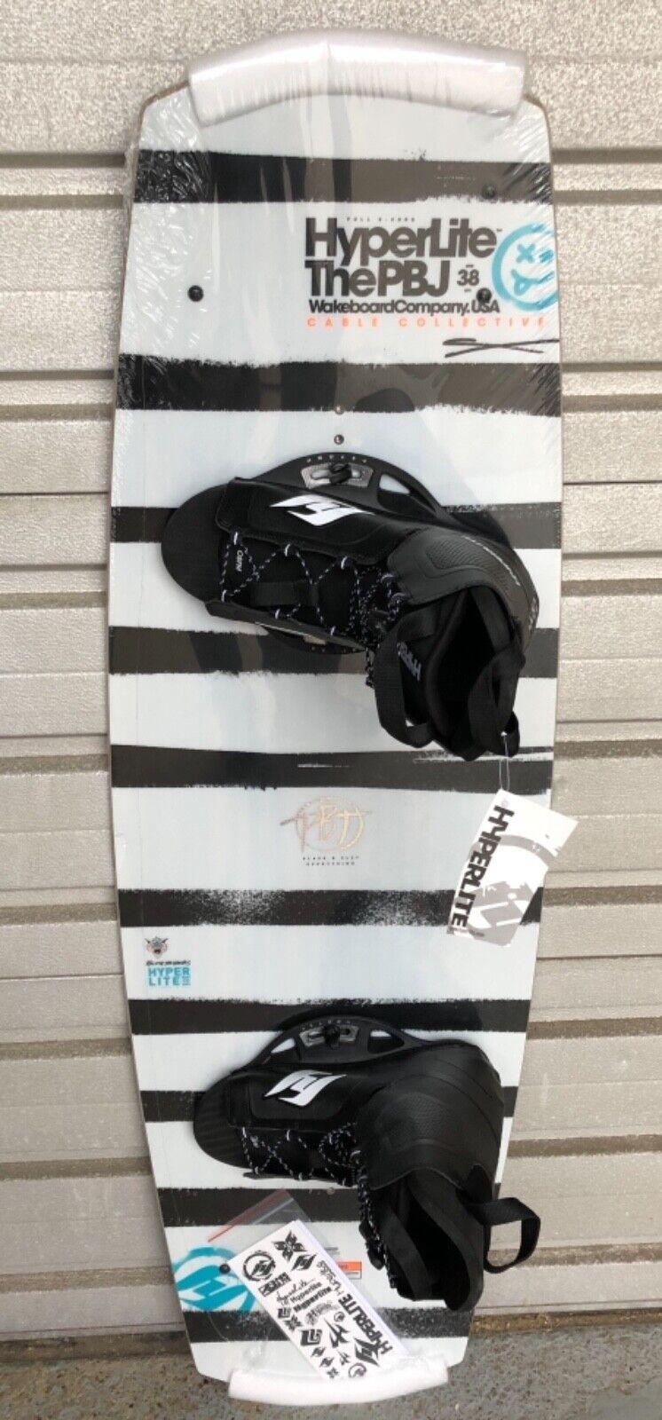 Neu Super Wakeboard Hyperlite PBJ 133 Wood Grind Base SET mit TOP Bindung 4 Fins
