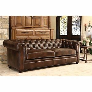 Details about Leather Couch Brown Soft Sofa Antique Designer Modern Living  Room Office Set