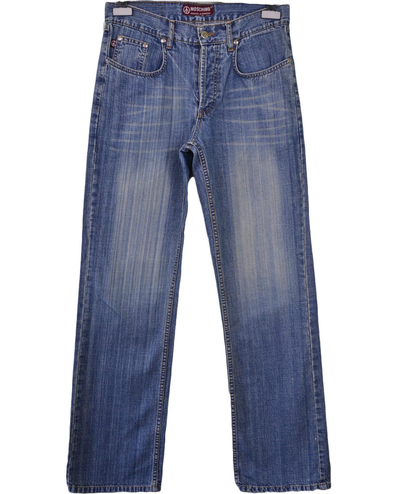 MOSCHINO Design Woman Vtg 90s Retro Casual Classic Straight Blau Jeans sz 32 Q58