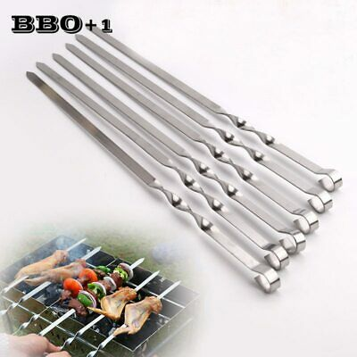 Skewers 50CM—Stainless Steel Flat Sturdy Barbecue  BBQ Kebab Kabob •Pack of 10•