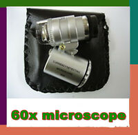 Mini Pocket 60X Zoom Magnification LED Microscope Jeweler Magnifier Glass Loupe