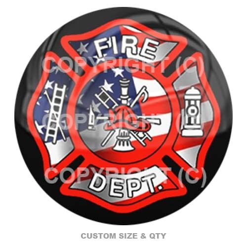 Premium Glossy Round 3D Epoxy Domed Decal Indoor /& Outdoor USA Fire Dept Blk