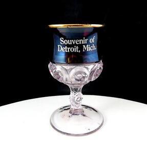 "FLINT GLASS CO-OP ROYAL RUBY FLASH DETROIT MICH SOUVENIR 3 3/4"" WINE GLASS 1894"