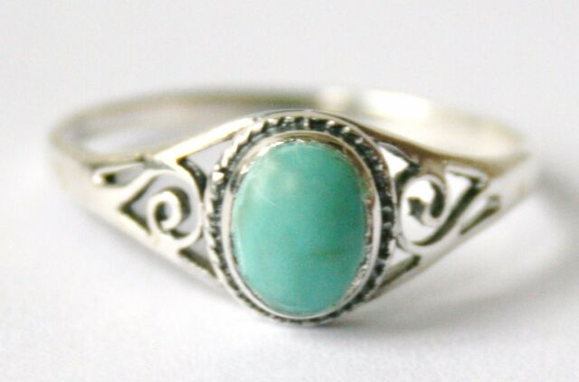 Ladies/Girls 925 Sterling Silver Oval Turquoise  Ring with Filigree Design
