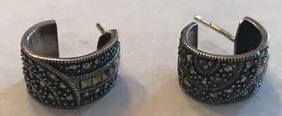 Stamped 925 JJ 925 hoops with marcasite vintage Judith Jack Sterling silver handmade earrings 0.5\u201d huggie